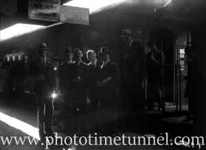 Returned servicemen at Newcastle Railway Station, NSW, April 23, 1938. (1)