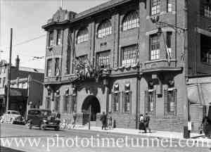 Civic Week decorations on Hunter District Water Board building, Hunter Street, Newcastle, August 16, 1937. (2)