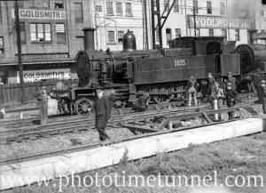 Locomotive 3035 derailed at Newcastle, NSW, July 23, 1936. (2)