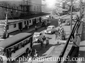 At the Beaumont Street railway gates, Hamilton, Newcastle, NSW, January 19, 1941.