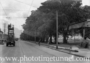 Tramways trolley-wire truck at Maitland Road, Islington, NSW, March 9, 1939.