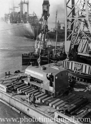 Stewarts and Lloyds Corby railway engine being delivered in Newcastle Harbour, NSW, June 28, 1951. (3)