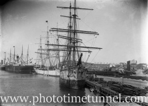 Sailing ships and steam vessels in Newcastle Harbour, NSW, circa 1910.