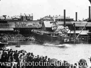 Launch of Sydney Harbour pilot vessel SS Captain Cook, Morts Dock Balmain, Sydney NSW, December 8, 1892.
