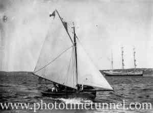 Wooden sailing boat on Sydney Harbour, NSW, early 20th century. (2)