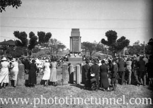 Service being conducted at East Maitland war memorial, NSW, circa 1930s. (4)