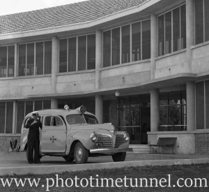 Ambulance at the opening of Rankin Park Hospital, Newcastle, NSW, June 12, 1947. (4)