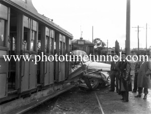 Accident between a tram and a truck at Jesmond crossing, Newcastle, NSW, June 7, 1949. (4)