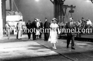 Queen Elizabeth II and Prince Philip at BHP steelworks, Newcastle, NSW, February 9, 1954. (11)
