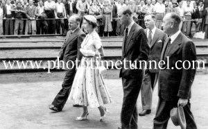 Queen Elizabeth II and Prince Philip at BHP steelworks, Newcastle, NSW, February 9, 1954. (28)