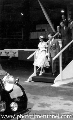 Queen Elizabeth II and Prince Philip at BHP steelworks, Newcastle, NSW, February 9, 1954. (7)