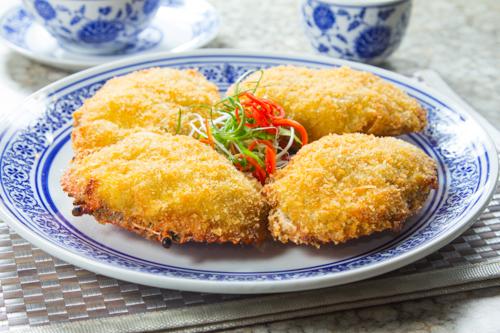 【酒樓晚宴會菜海鮮焗釀蟹蓋】專業食物攝影師的圖片庫