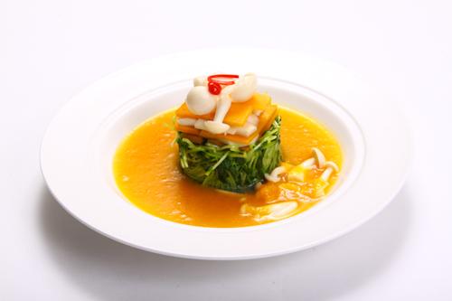 きのこと野菜のかぼちゃスープ・レストランのメニューデザイン用グルメ写真素材