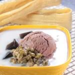 緑豆汁粉とセンソウゼリーにチョコレートアイスクリーム