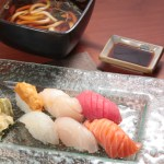 Salmon sushi, tuna sushi, sea urchin sushi and sea urchin sushi with inaniwa soup udon set