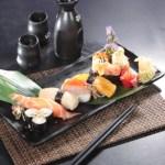 三文魚壽司、赤蝦壽司及蛋壽司拼盤