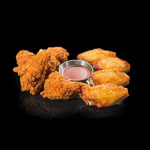 【兩種炸雞翼配番茄醬   黑色背景倒影版本】飲食業專用退地無背景素材圖像