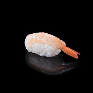 蝦壽司 黑色背景倒影版本的去背退地食物素材相片