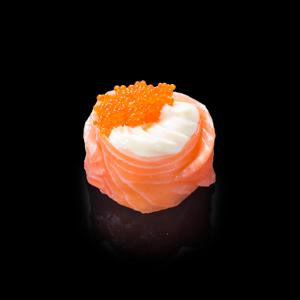 三文魚蟹子花之戀壽司 黑色背景倒影版本的去背退地食物素材相片