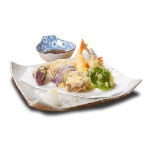 大葉冬菇茄子大蝦什錦天婦羅的去背退地食物素材相片