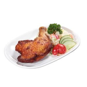 茶餐廳風味炸雞髀配鮮果沙律的去背退地食物素材相片