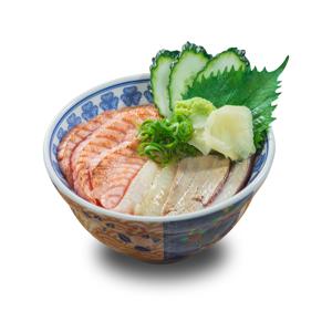 火炙三文魚吞拿魚刺身丼飯的去背退地食物素材相片