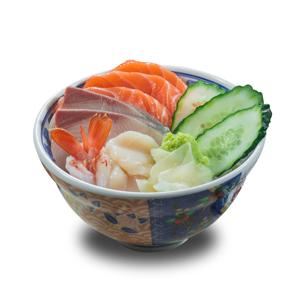 油甘魚玻璃蝦三文魚刺身丼飯的去背退地食物素材相片