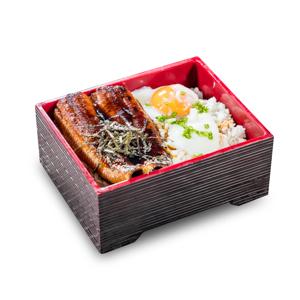 半熟蛋蒲燒鰻魚飯盒便當的去背退地食物素材相片