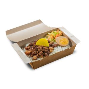 台式外賣便當鹵水蛋滷肉飯的去背退地食物素材相片