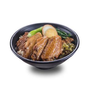 鹵水蛋酸菜肉燥雞翼飯的去背退地食物素材相片