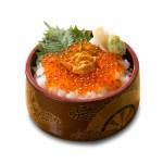 海膽三文魚籽丼飯的去背退地食物素材相片