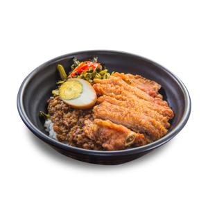 吉列炸豬扒肉燥滷水蛋飯的去背退地食物素材相片