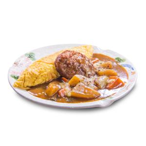 牛肉漢堡咖哩蛋包飯的去背退地食物素材相片