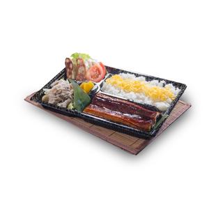蒲燒鰻魚牛肉煎餃子便當飯盒的去背退地食物素材相片