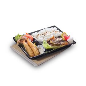 吉列炸蝦燒魚煎餃子便當飯盒的去背退地食物素材相片