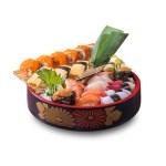 海膽熟蝦三文魚八爪魚北寄貝帆立貝壽司盛合的去背退地食物素材相片