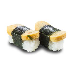 兩件紫菜玉子燒壽司的去背退地食物素材相片