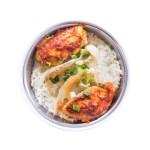 雞翼魚片蒸飯的去背退地食物素材相片