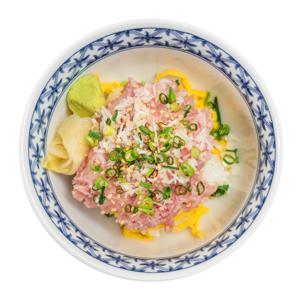 金槍魚肚刺身飯碗的去背退地食物素材相片