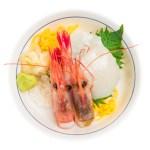 扇貝甜蝦刺身蓋飯的去背退地食物素材相片