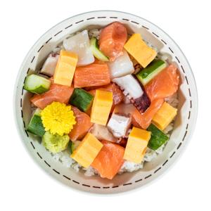什錦刺身丼飯的去背退地食物素材相片