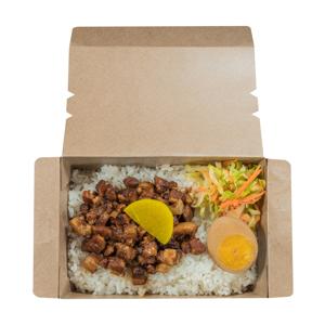 外賣盒裝鹵水蛋滷肉飯的去背退地食物素材相片