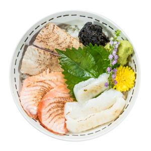 烤金槍魚三文魚鯛魚刺身蓋飯的去背退地食物素材相片
