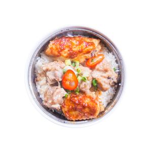 雞翅排骨蒸飯的去背退地食物素材相片