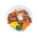 辣椒醬切片牛肉飯的去背退地食物素材相片
