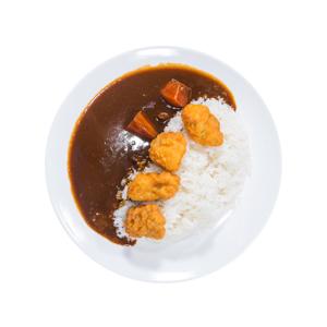 咖哩雞塊飯的去背退地食物素材相片