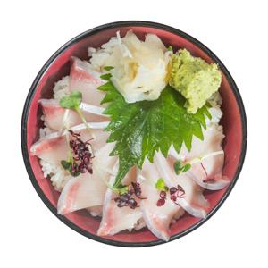 黃尾刺身丼飯的去背退地食物素材相片