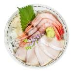 甜蝦鰤魚蓋飯的去背退地食物素材相片