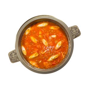 韓式京蔥蕃茄辣湯火鍋湯底的去背退地食物素材相片