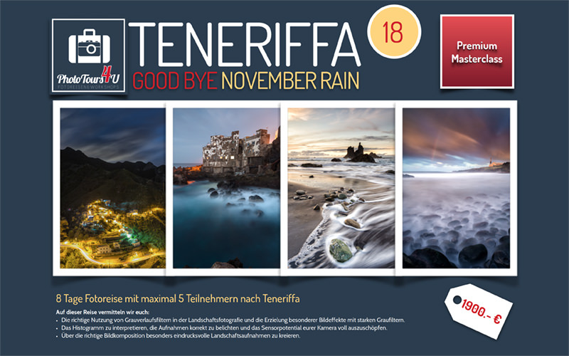 Reiseflyer Fotoreise Teneriffa Good Bye November Rain 2017